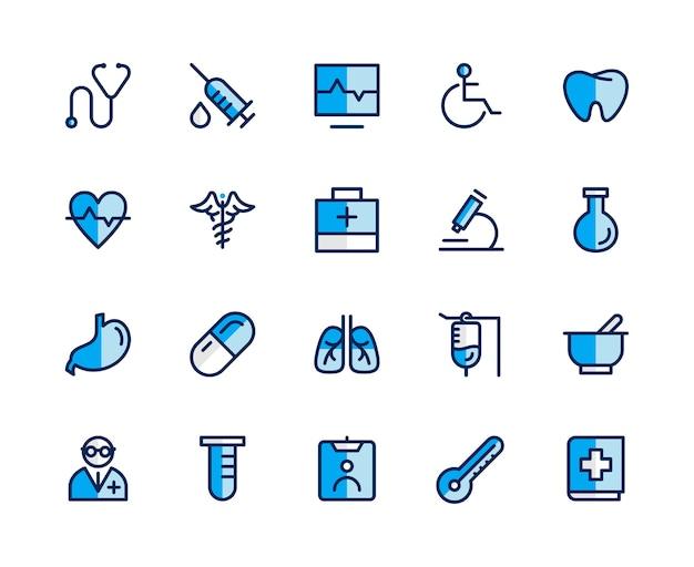 Concetto stabilito dell'icona della medicina.