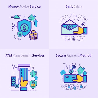 Concetto stabilito dell'icona di finanza e attività bancarie