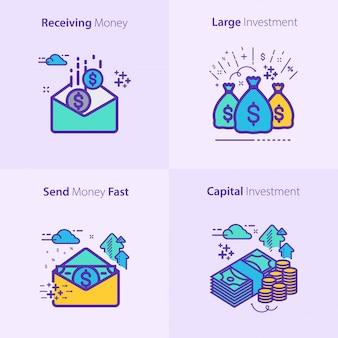 Concetto stabilito dell'icona di finanza e di affari