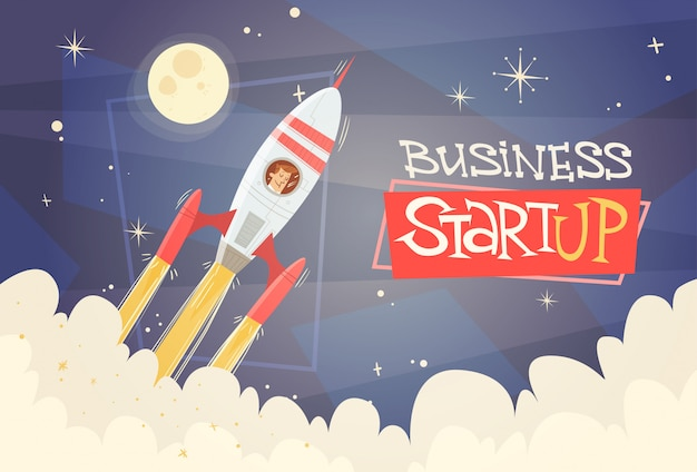 Concetto startup success di successo dell'uomo di affari del cielo della mosca di razzo