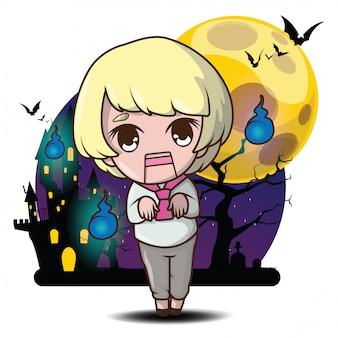 Concetto sveglio di halloween del fumetto della bambola del fantasma