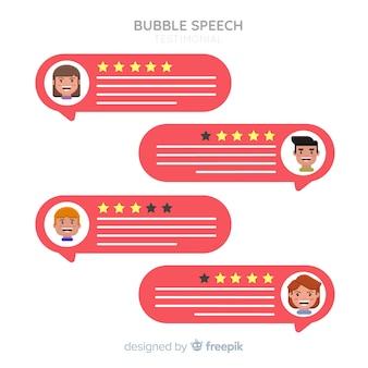 Concetto testimonial bolla di discorso