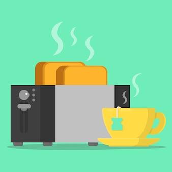 Concetto tostapane colazione con pane tostato barba e tazza di tè