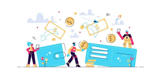 Concetto trasferimento di denaro da e verso portafoglio, illustrazione di risparmio finanziario flusso di capitale, guadagno o guadagno \ n