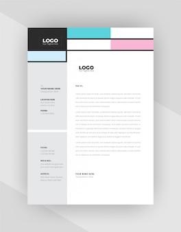 Concetto unico design modello di carta intestata aziendale.
