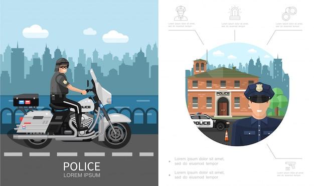 Concetto variopinto della polizia piana con il poliziotto che guida la moto sulle icone della pistola delle manette della sirena di emergenza e della strada
