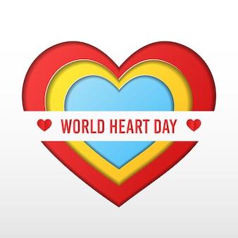 Concetto variopinto di giorno del cuore del mondo di vettore di stile del taglio della carta