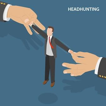 Concetto vectro isometrico piatto di headhunting.