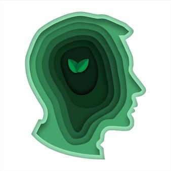 Concetto verde di pensiero di stile di arte di carta