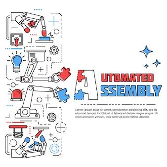 Concetto verticale dell'assemblea colorata con le mani robot che tengono i pezzi di puzzle nello stile lineare