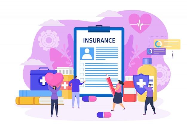 Concludere il contratto di assicurazione sanitaria con l'illustrazione del concetto di clinica. uomo riempire documento di grande formato, personaggio di donna