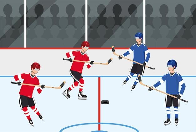 Concorrenza del team di giocatori di hockey con attrezzature