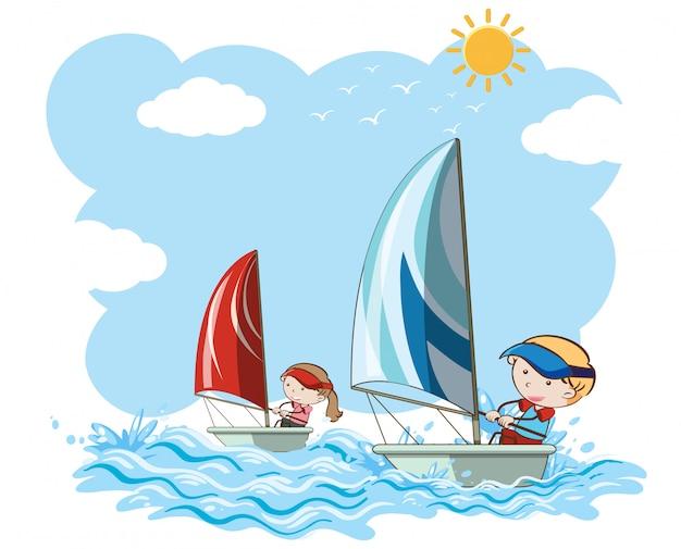 Concorrenza della barca a vela su fondo bianco