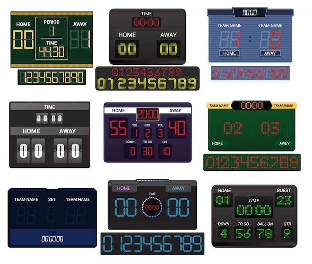 Concorrenza della partita della squadra di sport di calcio di calcio del visualizzatore digitale del tabellone segnapunti di vettore del tabellone segnapunti sullo stadio