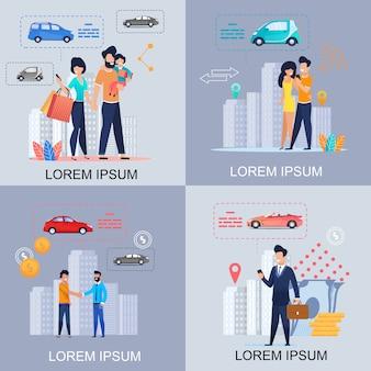 Condividere l'auto. noleggio auto. carpooling. shopping. app.