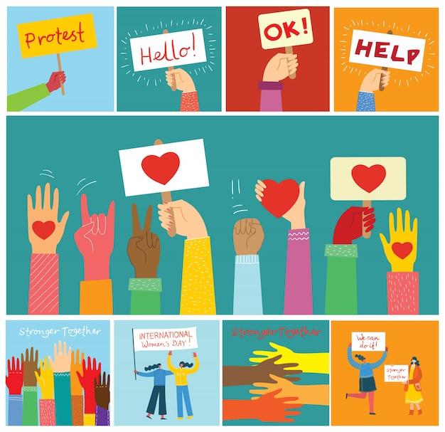 Condividi il tuo amore. mani e persone con il cuore come massaggi d'amore. illustrazione per san valentino in stile moderno appartamento