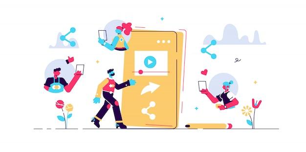 Condividi illustrazione. concetto di persone collegamento di rete minuscola. cooperazione e partenariato informativi astratti sui social media. simbolo popolare della raccolta di informazioni della comunità degli utenti del sito web.