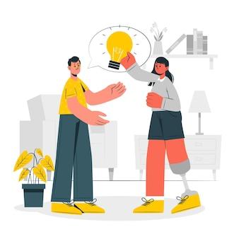 Condivisione dell'illustrazione di concetto di idee