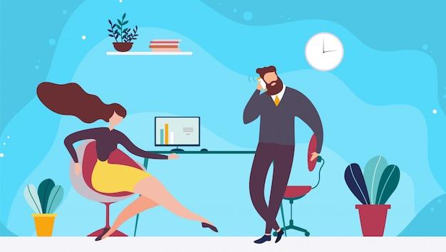 Condivisione dell'illustrazione piana dello spazio dell'ufficio di coworking