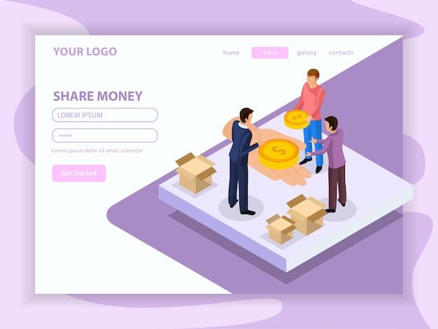 Condivisione della pagina web isometrica di economia con caratteri umani e denaro su bianco lilla