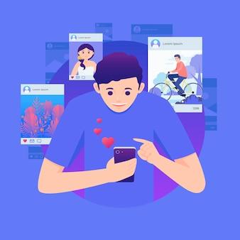 Condivisione di contenuti sui social media con l'uomo