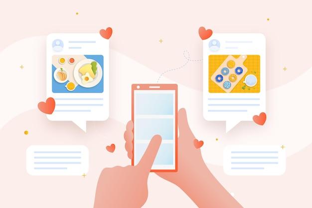 Condivisione di contenuti sui social media con lo smartphone