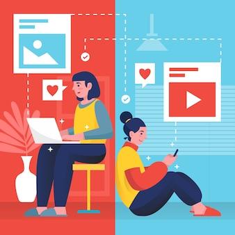 Condivisione di contenuti sull'illustrazione dei social media