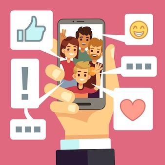 Condivisione di contenuti video sullo schermo dello smartphone. gli amici commentano e apprezzano il vlog. concetto di vettore di streaming video