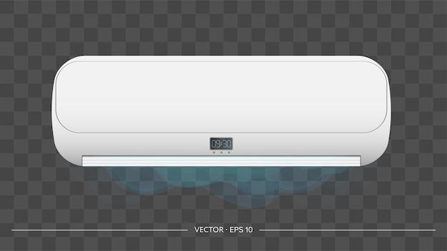 Condizionatore d'aria bianco in 3d. condizionatore d'aria bianco realistico