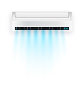 Condizionatore d'aria con aria fresca isolata. aria condizionata bianca isolata su sfondo chiaro in stile. illustrazione su apparecchiature elettriche in casa.