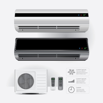 Condizionatore d'aria realistico e telecomando con aria fredda simboli illustrazione vettoriale