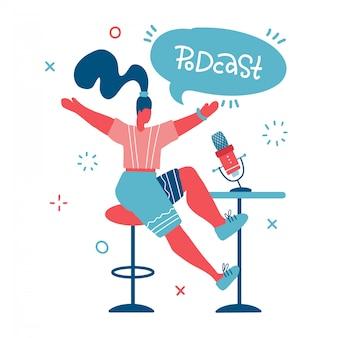 Conduttore radiofonico. doodle hosting disegno multimediale. podcaster femminile con il fumetto con l'iscrizione dell'iscrizione del podcast, emittente a personaggio dei cartoni animati isolato area di lavoro. illustrazione piatta