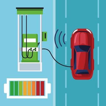 Conectivity di auto internet nella stazione di benzina