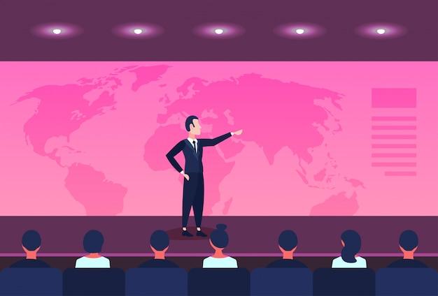 Conferenza di concetto di globalizzazione di affari di posizionamento di posizione dell'uomo d'affari che indica