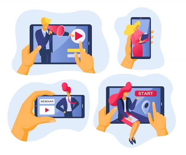 Conferenza e webinar online in internet, illustrazione. uomini d'affari con tecnologia video web, comunicazione