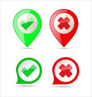 Conferma e nega il segno di spunta e il pulsante con l'icona x