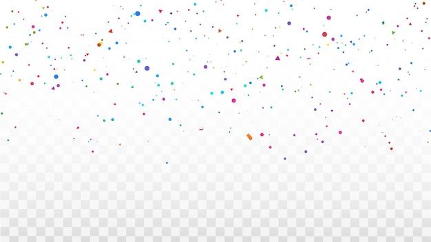 Confetti cornice di nastri colorati. biglietto di auguri di lusso ricco.