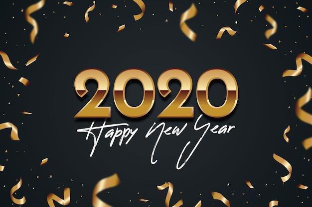 Confetti felice anno nuovo 2020 sullo sfondo