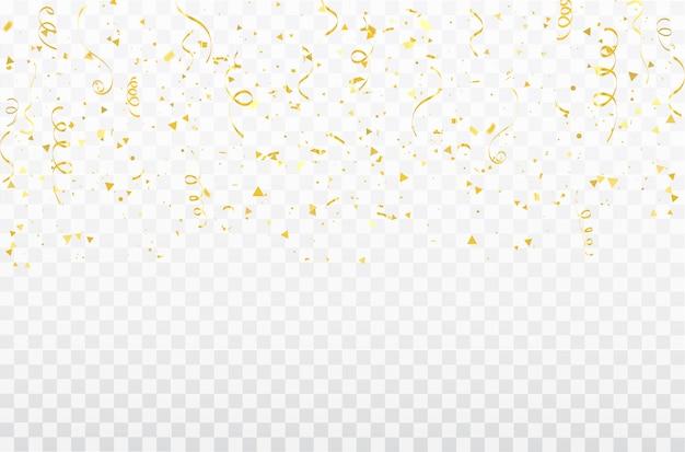 Confetti oro celebrazione nastri di carnevale.