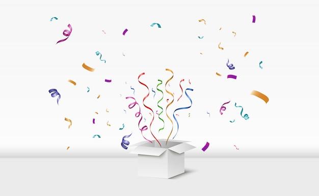 Confetti vola fuori dalla scatola. sorpresa illustrazione