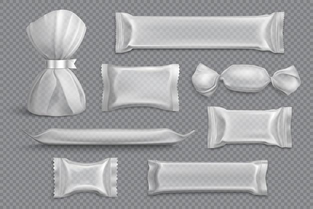 Confezionamento candy fornisce prodotti in bianco raccolta di campioni di mockup su trasparenti con involucri di alluminio realistici