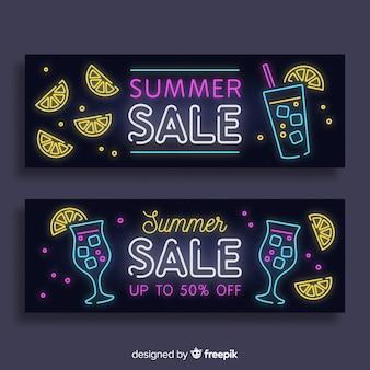 Confezione banner vendita neon estate