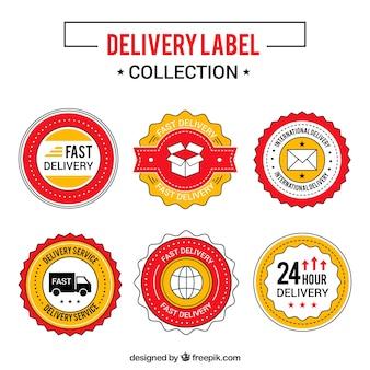 Confezione classica di etichette di consegna colorate