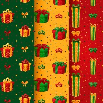 Confezione con motivo natalizio e regali