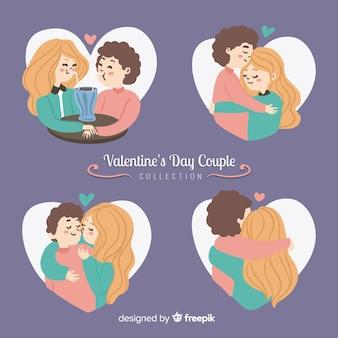 Confezione coppia disegnata a mano di san valentino