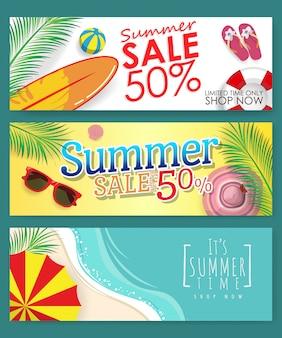 Confezione da 3 banner modello per promozione sconto vendita estiva