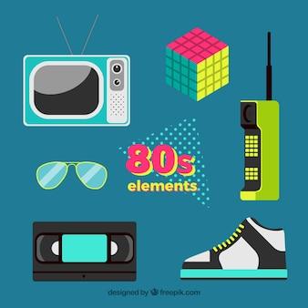 Confezione da anni ottanta oggetti in design piatto