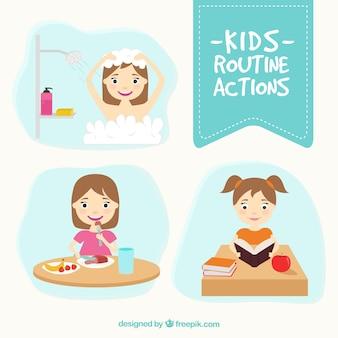 Confezione da bambini azioni di routine