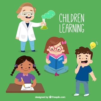 Confezione da bambini che imparano