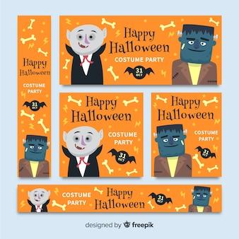Confezione da banner design piatto di halloween